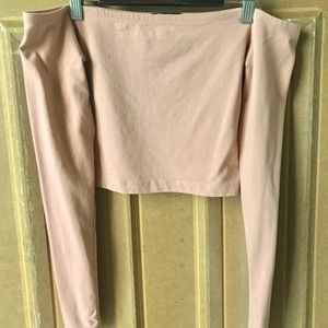 Blush Pink Off the Shoulder Long Sleeve Crop Top